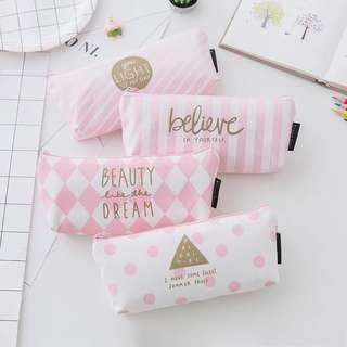 🚚 小清新粉色鉛筆盒 簡約鉛筆袋 學生文具鉛筆袋
