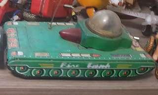 Vintage friction tin toy tank