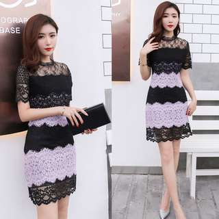 Black and Purple Lace Short Dress