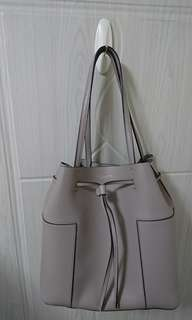 Tory Burch French Grey Leather Block-T Drawstring Tote Bag Medium Handbag