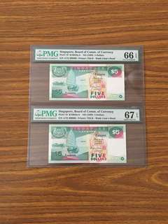 Fixed Price - Singapore Ship Series $5 Paper Banknote Fancy Numbers 399999 400000 PMG 66 67 EPQ
