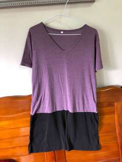 🚚 黑紫拼長版衣