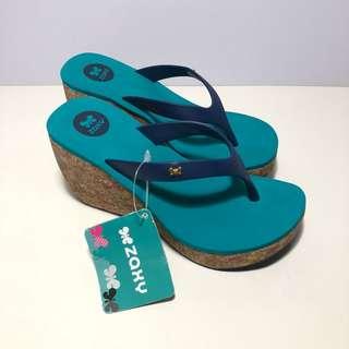 🚚 Zaxy 香香鞋 巴西尺寸35,36,37,38(簡捷時尚楔型厚底人字夾腳拖鞋-藍綠色)