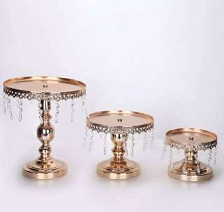 Brand New  3pcs Metallic Rose Gold cake stands set with crystals - Available for pick up