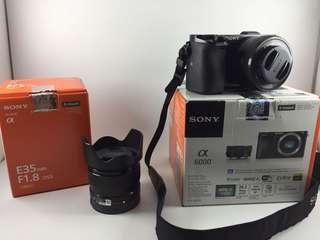 Sony a6000 kit lens dan 35mm f1.8 masih garansi Resmi Januari 2019