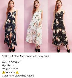 Split front flora maxi dress with sexy back