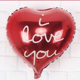 """""""I love u"""" hearth shape balloon"""