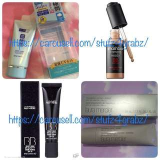 Hada Labo Perfect UV Gel , 5 In 1 Uv Sunscreen / MAC Prep & Prime Beauty Balm Spf 35 - Light Plus / Smashbox Camera Ready BB Water - Fair/Light / Laura Mercier Foundation Primer Protect Spf 30