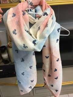 米奇暈染棉質圍巾
