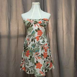 Tropical Patterned Strapless Beach Dress