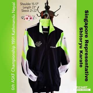 """Beautiful Sports Competition Pull-over. Stated 6th ASKF Championship (1991) Kathmandu Nepal. """"SHITORYU Singapore"""". Great Inspiration for Sports Champion-to-be. Refer to photo for size & detail. Good & Clean Condition. $18, Sms 96337309 for Fast Deal."""
