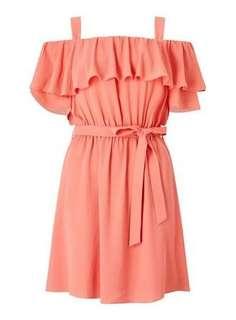 Miss Selfridge Ruffle Cold Shoulder Dress