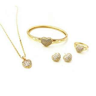 4 in 1 Crystal Heart Jewelry Set
