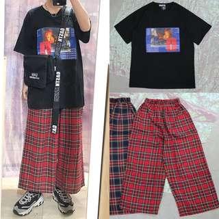 🚚 美式火焰圖片造型中性短t/英文背帶造型中性側背包/中性格子寬褲