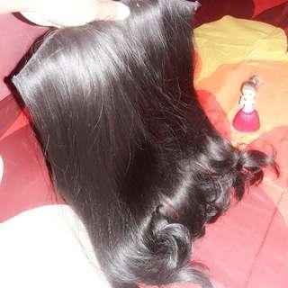 Hairclip rambut palsu wig hitam wave sedang
