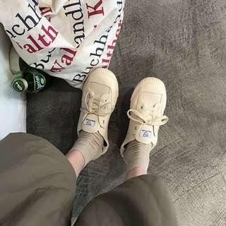 🚚 2018新款帆布鞋女學生百搭韓版原宿風ulzzang復古港風chic板鞋子 35-40 預購