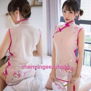 Bikini Sexy Lingerie Robes Stockings Panties Underwear Costumes Sleepwear Baju Tidur White+Rose-Red MH7933