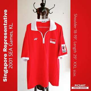 2001 SEA GAMES (KL) Sports Polo Shirt. Stated SINGAPORE behind. Great Inspiration for Sports Champion-to-be. Refer to photo for size & detail. Good & Clean Condition. $22 offer, Sms 96337309 for Fast Deal.