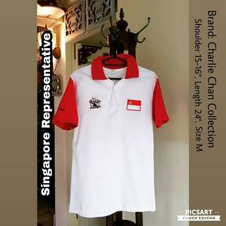 AMF Bowling Competition Sports Polo Shirt by Charlie Chan Collection. Stated SINGAPORE behind and Flag sewn infront. Great Inspiration for Sports Champion-to-be. Refer to photo for size & detail. $18 offer, Sms 96337309 for Fast Deal.