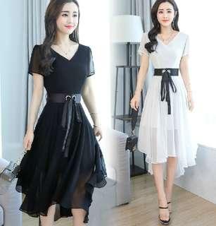 77203 #新款收腰不規則雪纺連衣裙  颜色: 白色 紫色 红色 绿色 黑色 粉色   尺码: S M L XL 2XL 3XL