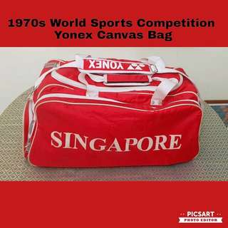 1970s International Badminton Competition YY YONEX Canvas Bag. Stated SINGAPORE.  Great Inspiration for Sports Champion-to-be. Refer to photo for size & detail. $22 offer, Sms 96337309 for Fast Deal.