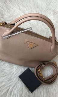 Prada Mini Vitello Daino in Cameo Beige (1BA111)