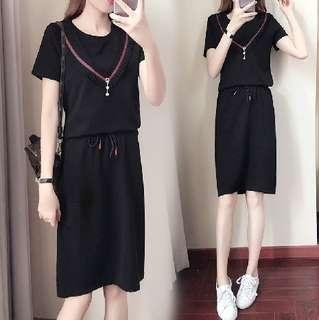 78139 #大碼顯瘦上衣+包裙兩件套  尺码: 5XL 4XL 3XL 2XL XL   颜色: 黑色