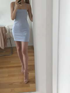 White Fox Velvet Baby Blue Dress