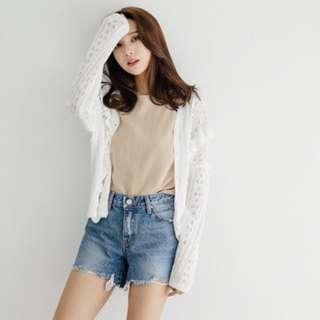 🚚 韓國 木耳壓紋針織小外套