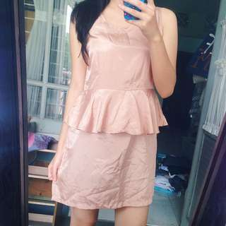 Nude Peplum Satin Dress Gown Night Silk / Gaun Pesta Kondangan