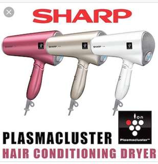 SHARP plasma cluster ions equipped hair dryer (pink color)