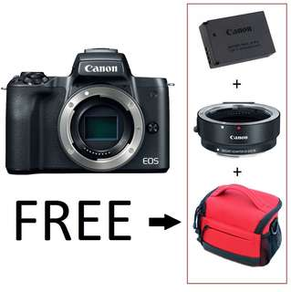 Canon M50 Body. EF-M Adapter. Extra Battery. Bag