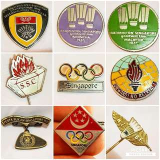 Rare Vintage Sports Badges and Collar Pins. Refer to detail below. Refer to photo for size & detail. Selling whole lot for $380 offer or individual price below, Sms 96337309 for Fast Deal.