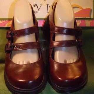 🚚 馬汀大夫 dr.martens 瑪麗珍 瑪莉珍 娃娃鞋 皮鞋   酒紅 uk6 (uk7 )39/40碼 正品 古著 vintage