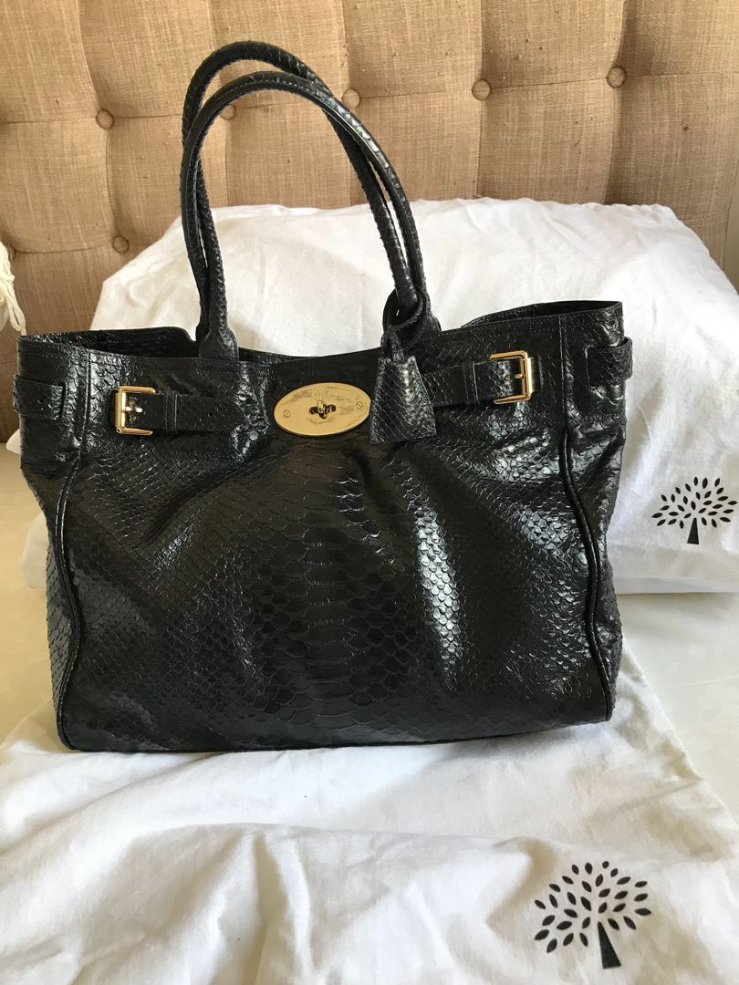 d10a7209dd40 Authentic Mulberry Bayswater Tote in Ink Silky Snake Shine Leather ...