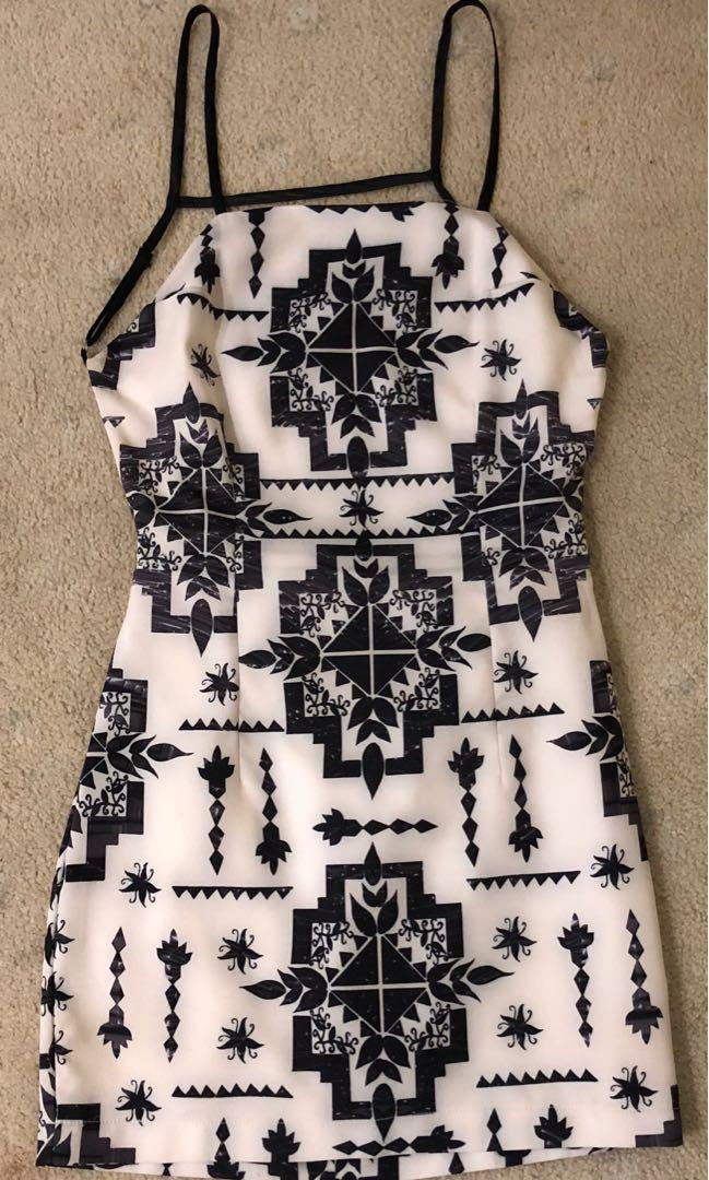 Black and White backless dress