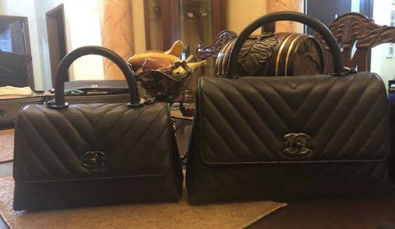 a6f8e2751fa8 BNIB chanel coco handle chevron caviar SO BLACK, Luxury, Bags & Wallets,  Handbags on Carousell