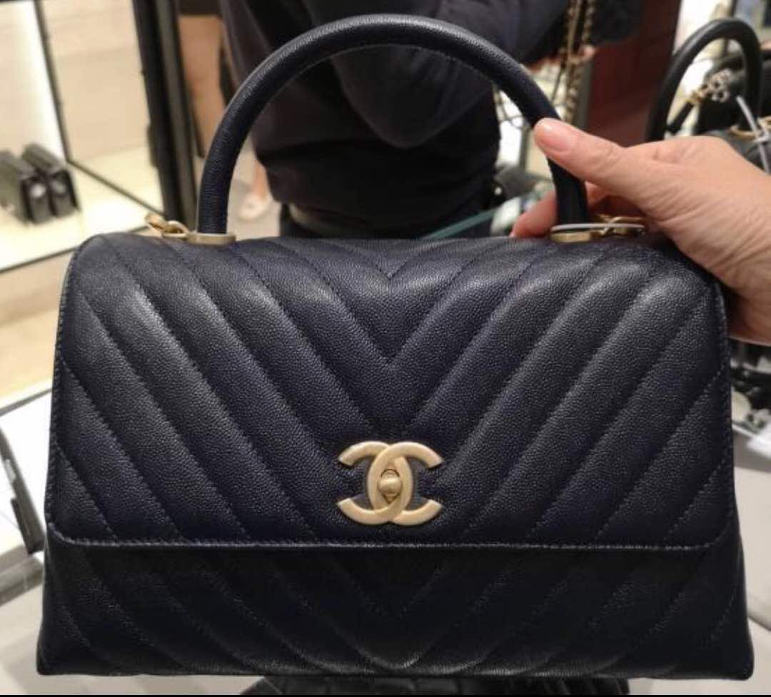 9d2059e11c04 BNIB Chanel coco handle Chevron Caviar with GHW!, Luxury, Bags & Wallets,  Handbags on Carousell