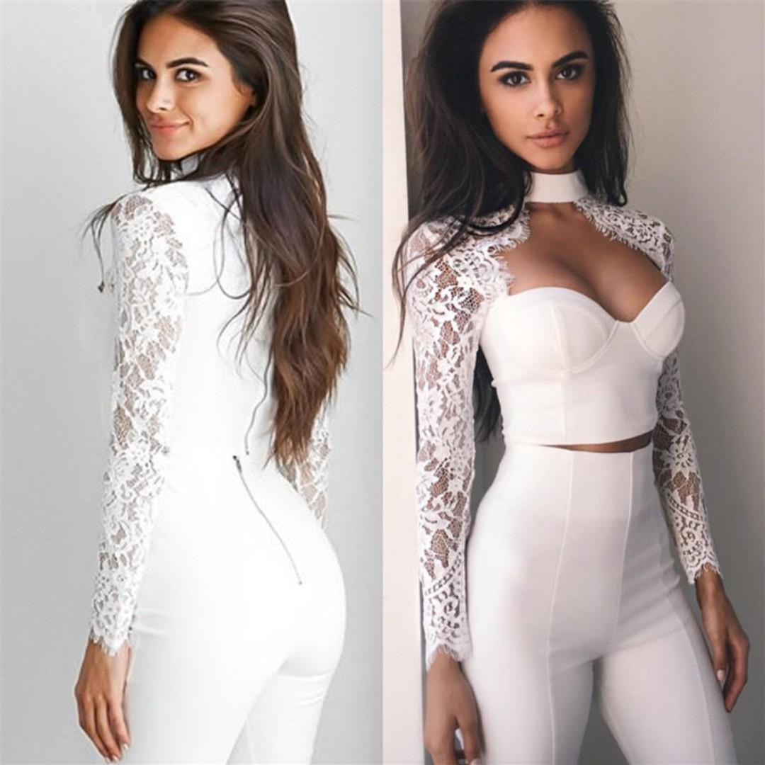 BNIT White long sleeve lace crop top