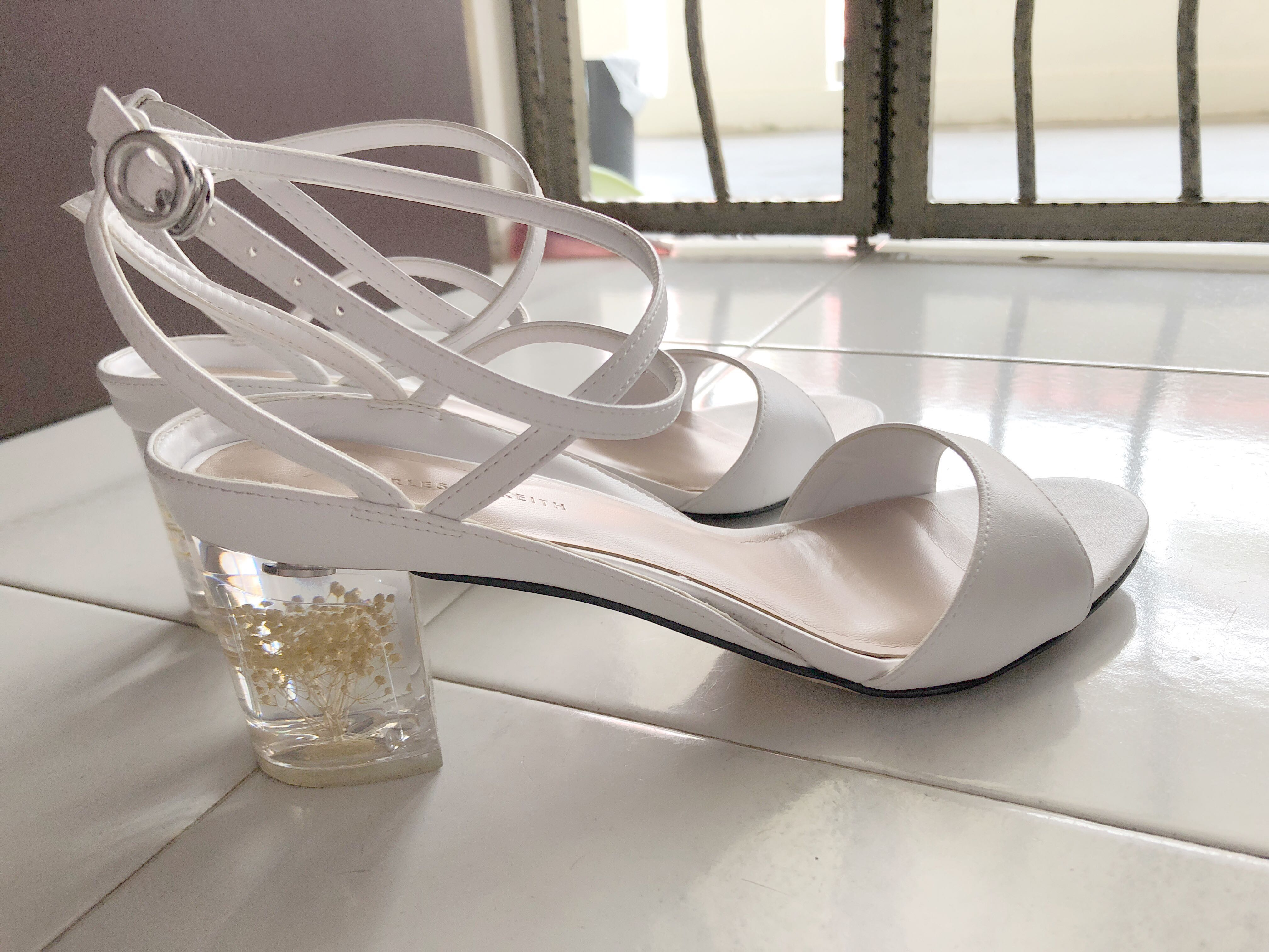 36d21b85951 Charles Keith Floral Lucite Heel Sandals Size 39