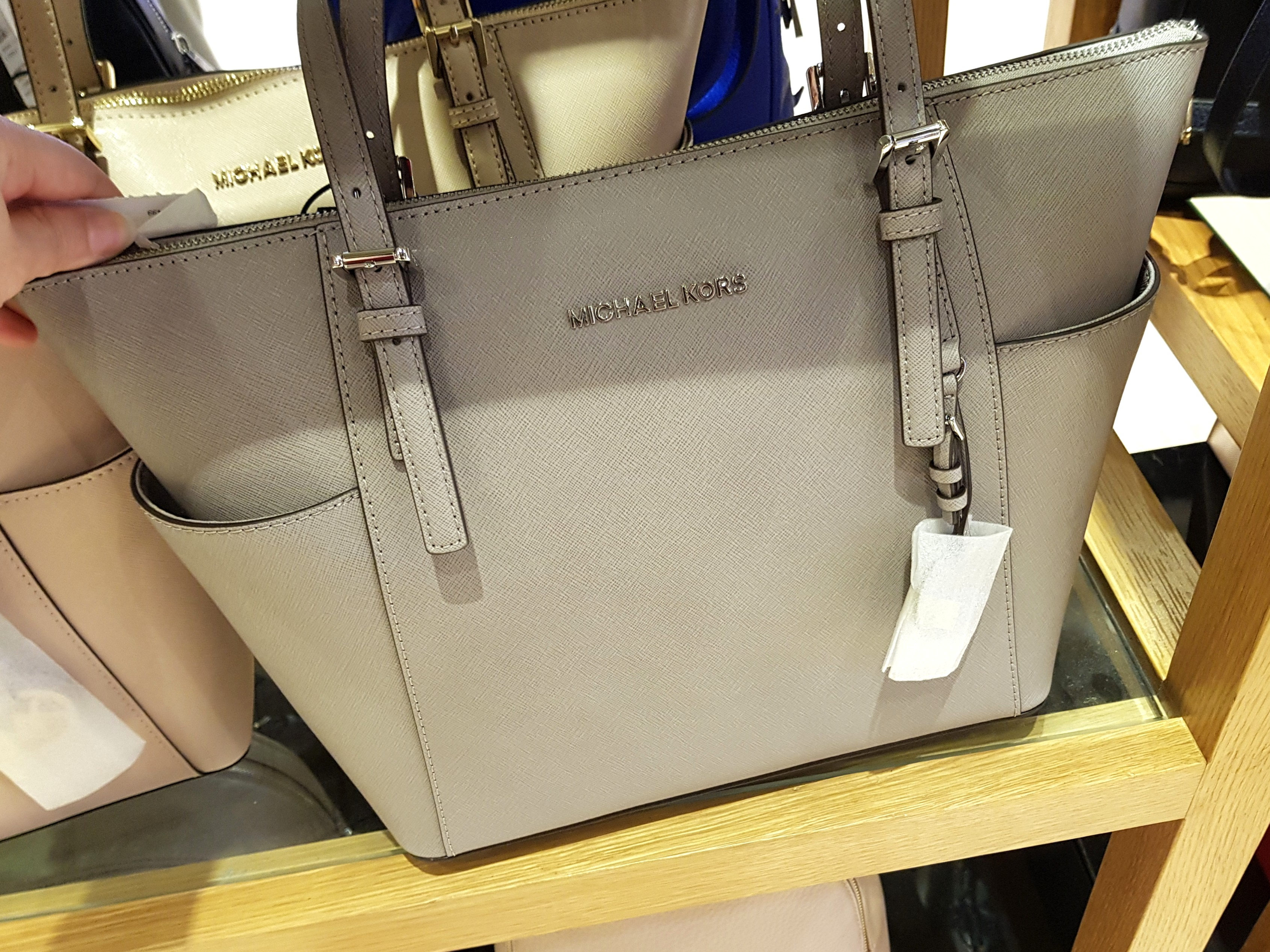 7af1db687d75 EXTENDED SALE! Michael Kors East West Tote- Pearl Gray (100 ...