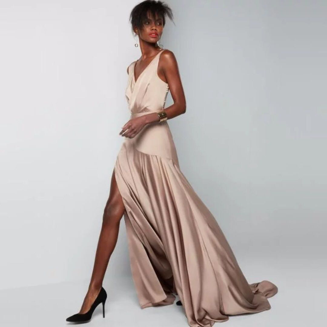 Fame and Partners Escala Gown in Dark Tan, Women\'s Fashion, Clothes ...