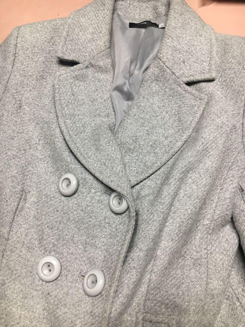 Light grey wool coat size 8