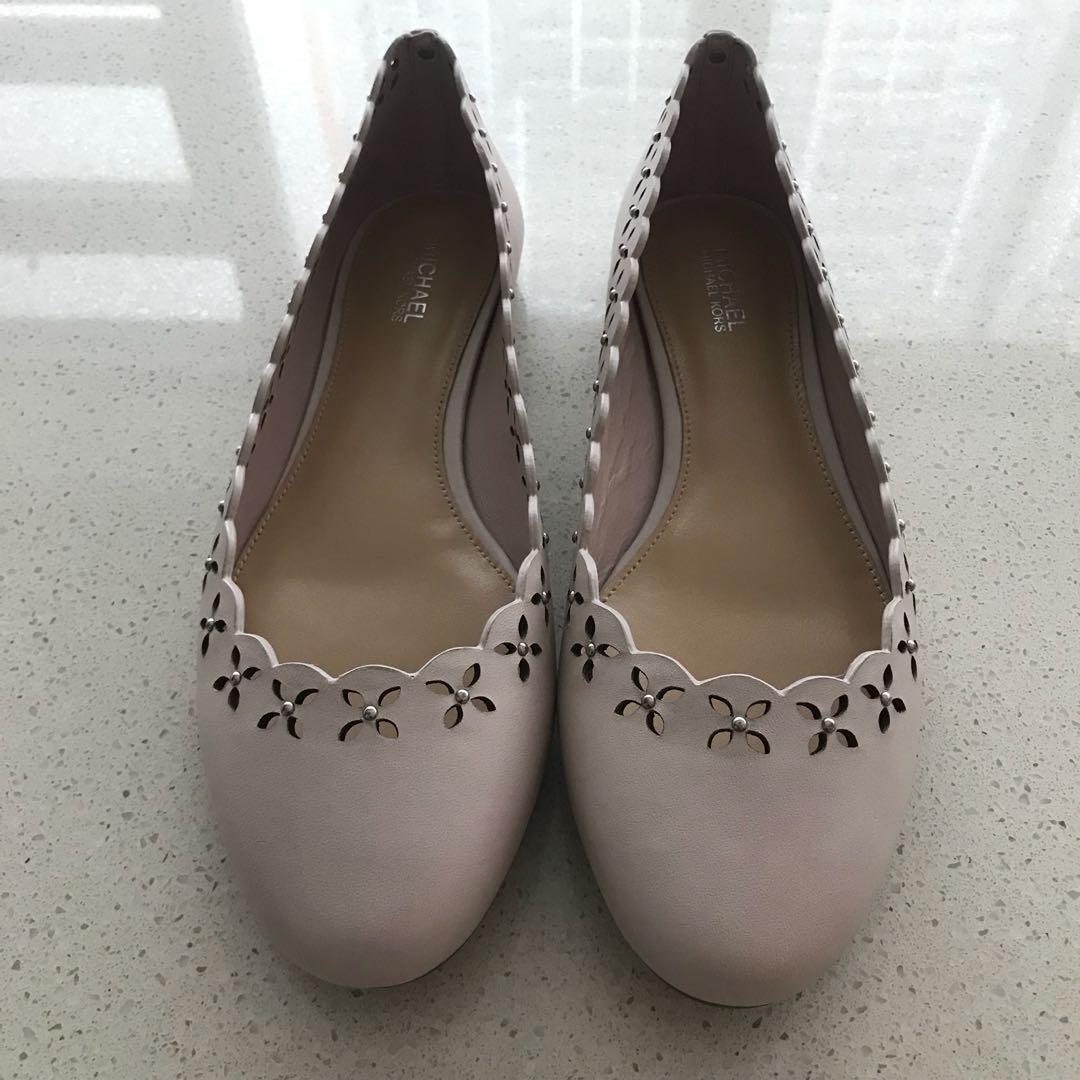 129e535ed339a Michael Kors Thalia Laser-Cut Leather Ballet Flat • Soft Pink ...