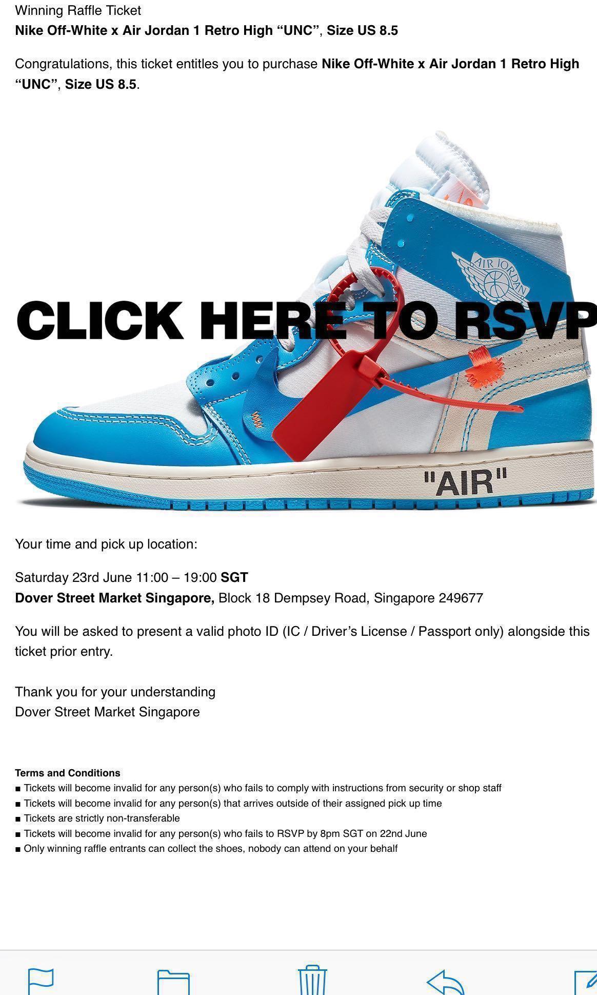 """600916563dbcc Nike Off-White Air Jordan 1 Retro High """"UNC"""" US 8.5"""