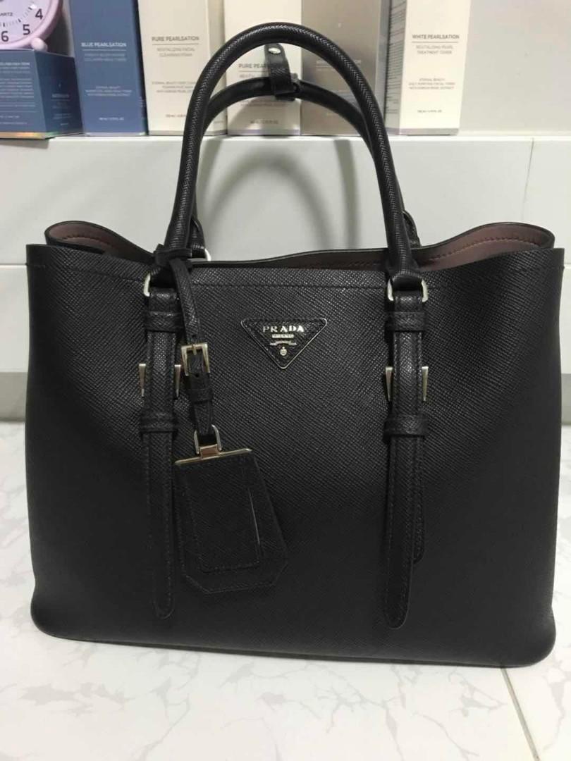 0760b99a57a63a Prada Saffiano Cuir Double Bag, Luxury, Bags & Wallets, Handbags on  Carousell