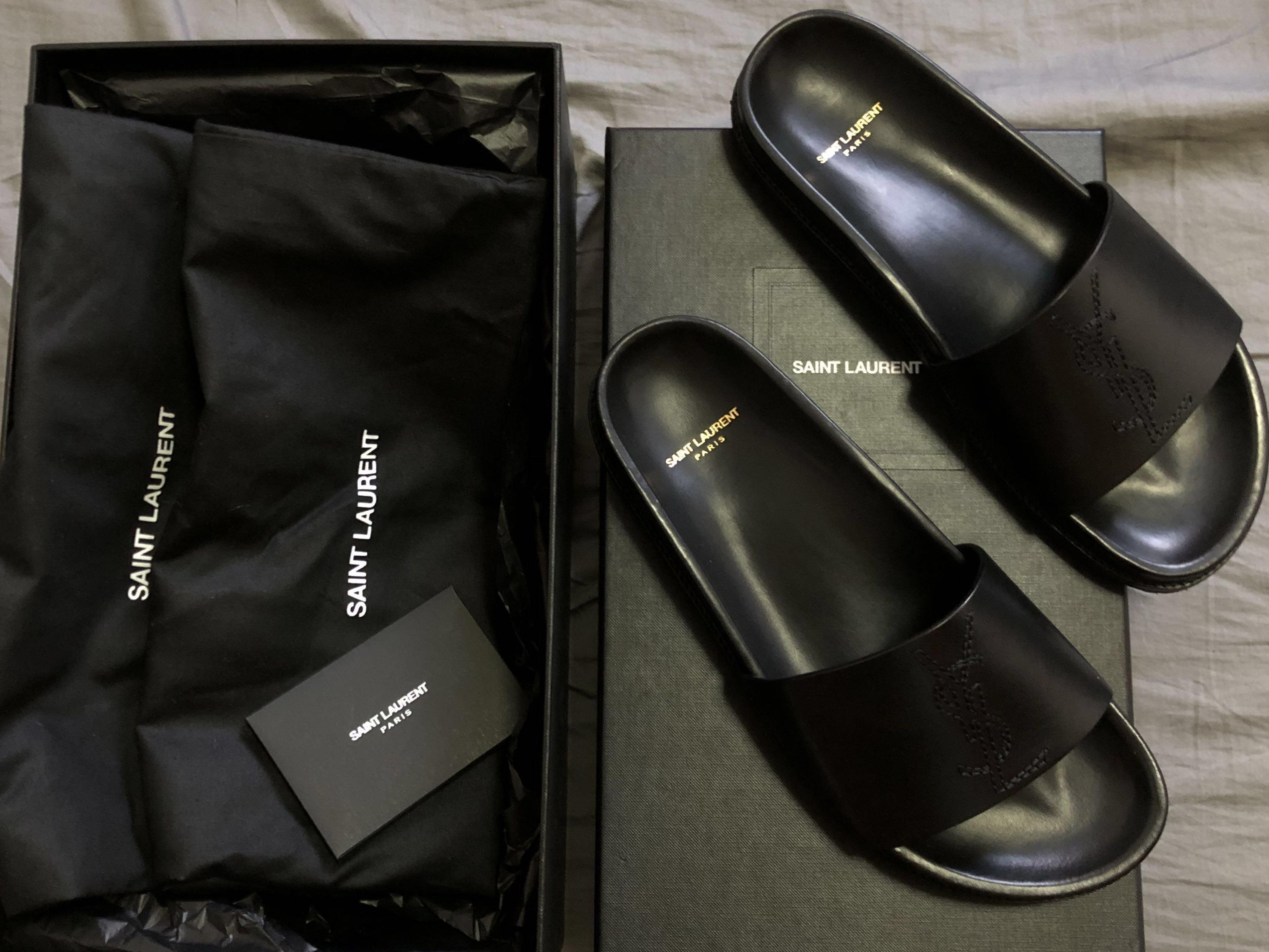 c09b3f435c Saint Laurent Paris YSL Jimmy Slides Sandals Black Brand New, Men's ...