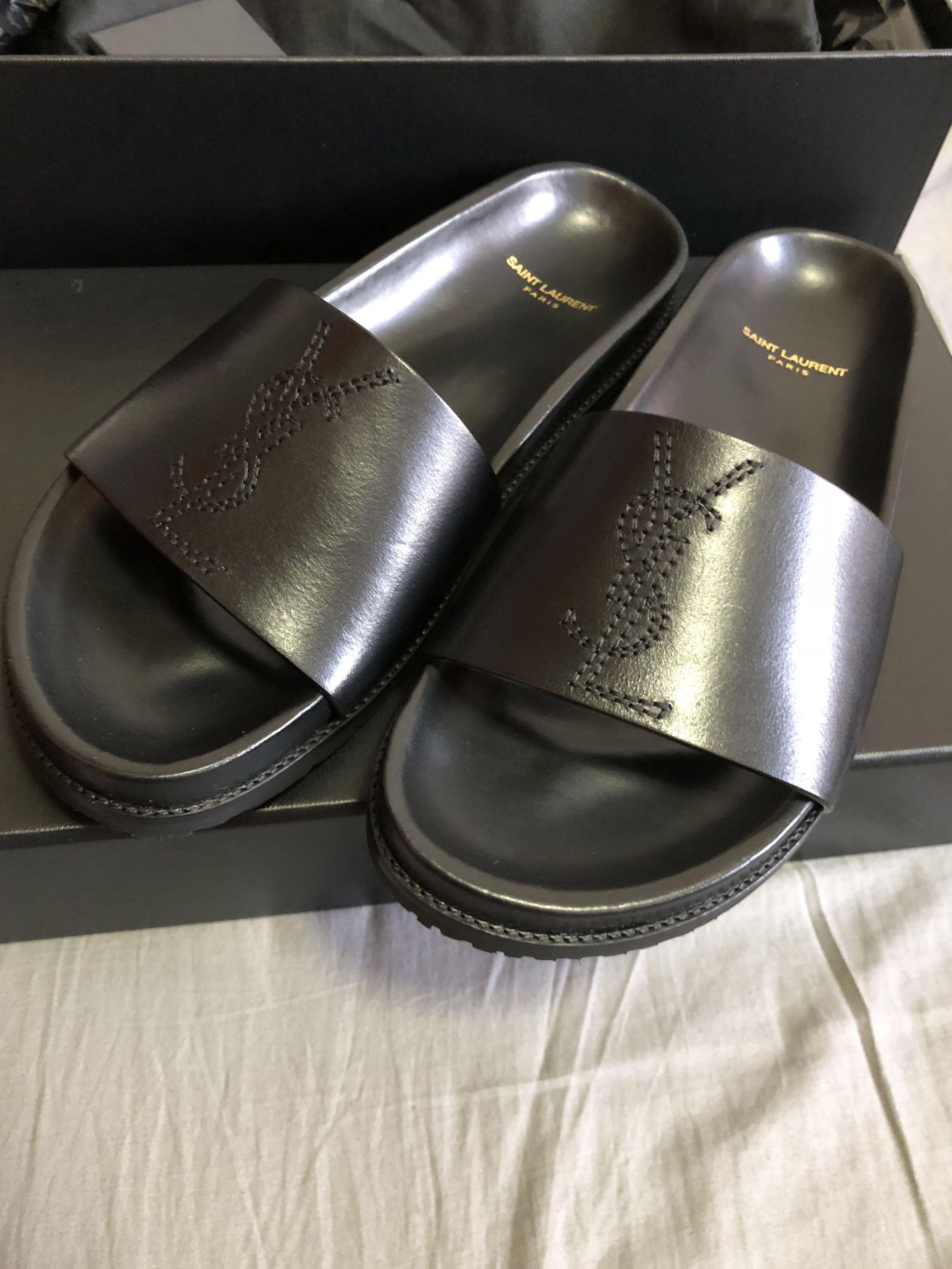 9053cd5b7309 Saint Laurent Paris YSL Jimmy Slides Sandals Black Brand New