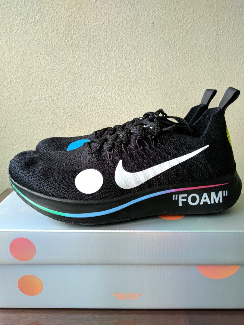 finest selection 42d29 02997 US 8.5 OFF WHITE x Nike Zoom Fly Mercurial Flyknit Black, Men s Fashion,  Footwear, Sneakers on Carousell