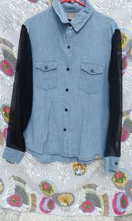 Blouse Denim Kombinasi
